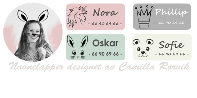 Eksklusive navnelapper, designet av Camilla Rørvik - på smartlapper.no