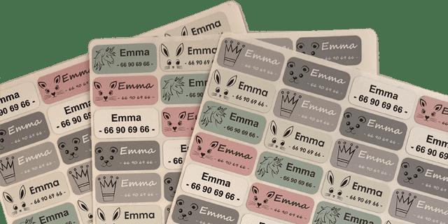 Eksklusive navnelapper designet av Camilla Rørvik, på smartlapper.no