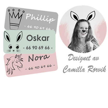 Eksklusive navnelapper, til barnehage, klær og annet - fra Smartlapper. Designet av Camilla Rørvik