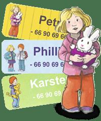 Karsten og Petra navnelapper fra Smartlapper. Perfekt til barnehage, sfo, skole, merking av klær, matboks og andre ting. Fine klistremerker