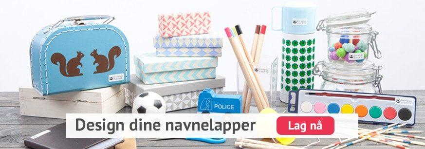 Navnelapper, design og lag dine egne fargerike navnelapper her