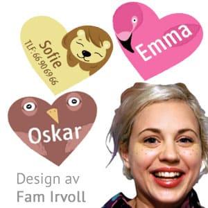 Navnelapper formet som hjerter, design by Fam Irvoll