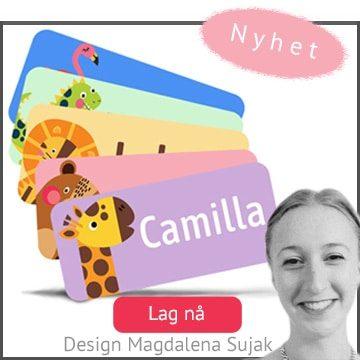 Supersøte navnelapper designet av Magdalena Sujak, til smart merking av klær og eiendeler til barna.