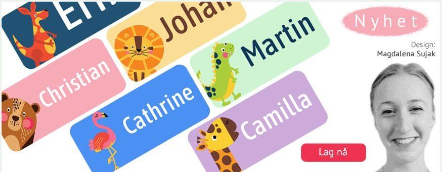 Supersøte navnelapper designet av Magdalena Sujak, til merking av klær og andre eiendeler. Mange søte motiver av dyr.