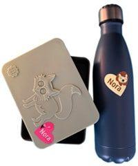 Navnelapper formet som hjerter, til merking av drikkeflaske, matboks og andre eiendeler