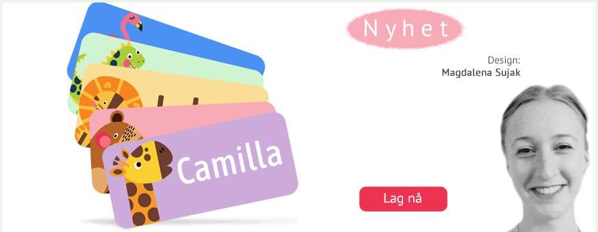 Supersøte navnelapper designet av Magdalena Sujak til å merke alle barnas eiendeler. Selvklebende