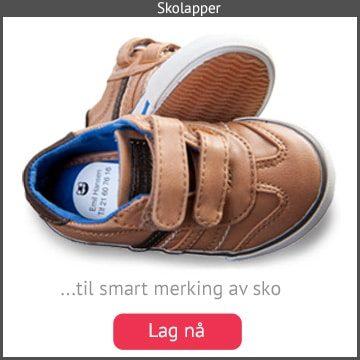 Skolapper. Unike navnelapper til smart merking av sko i alle størrelser og fasonger.