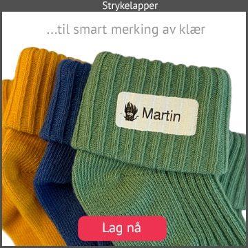 Strykelapper for smart og permanent merking av klær og sokker. Sitter meget godt fast, og tåler røff bruk og 60 grader i vaskemaskin.