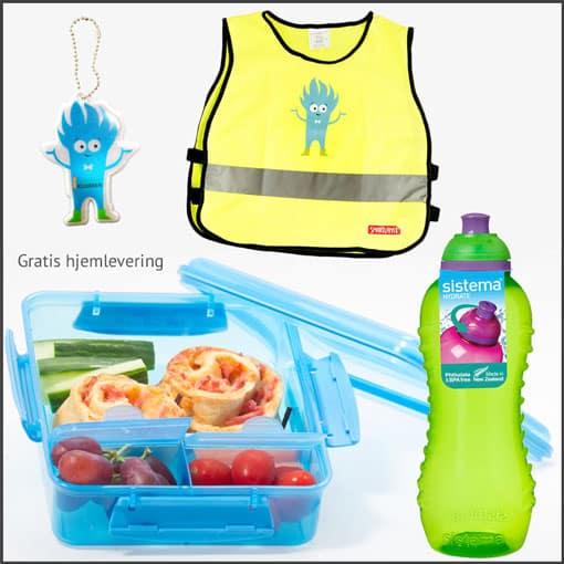 Turpakke med Sistema matboks, Sistema drikkeflaske, refleksvest i to barnestørrelser og en liten refleks til å henge på sekken
