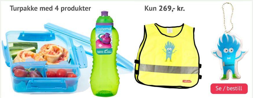 Turpakken til barn. Sistema matboks, drikkeflaske samt refleksvest og liten refleks