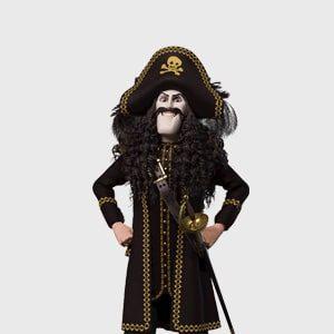 Kaptein Sabeltann navnelapper - velg din favoritt sjørøver på dine navnelapper