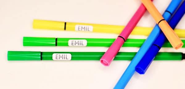 Minilapper til merking av smokker, blyanter, hårspenner og andre små ting